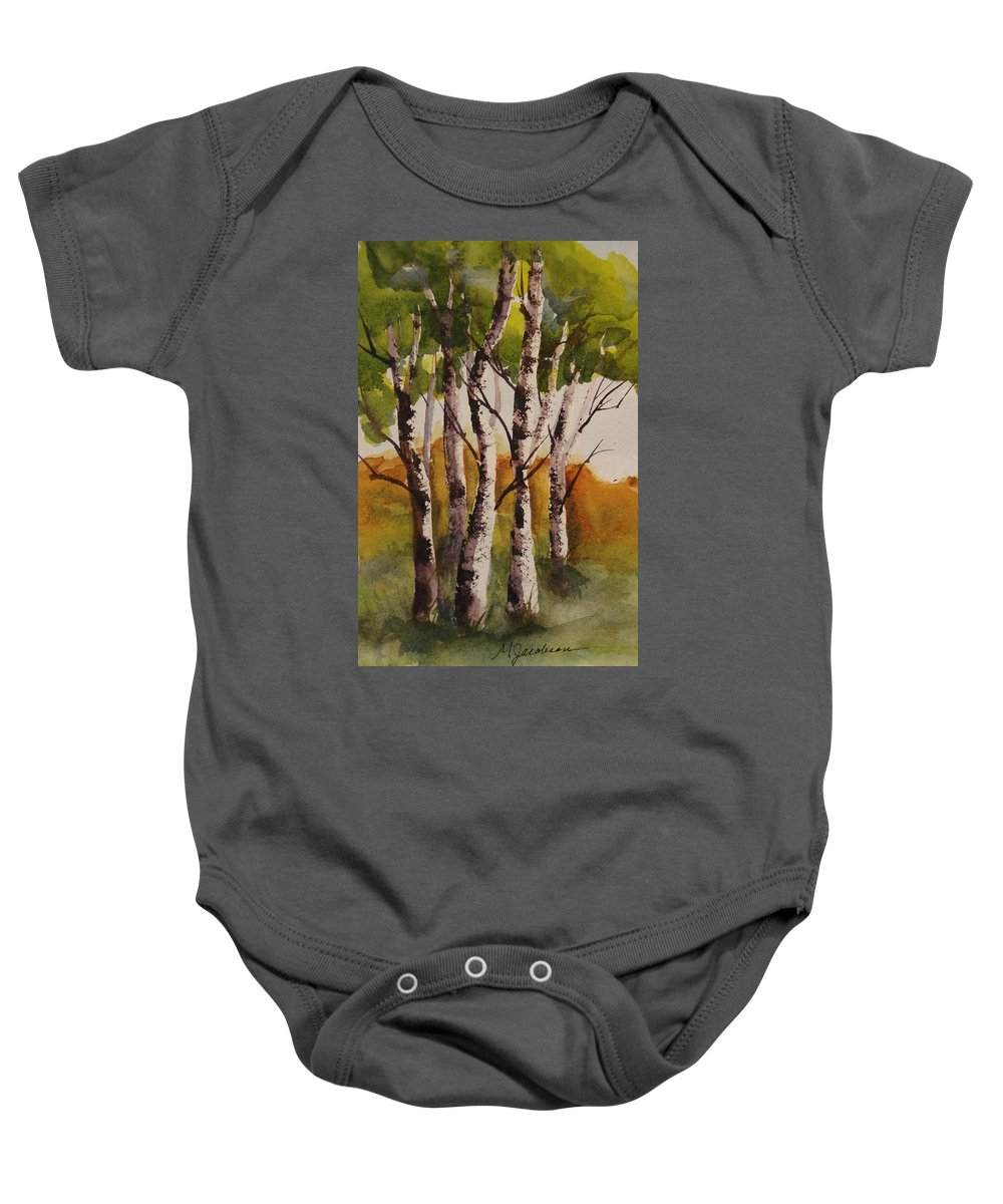 Trees Baby Onesie featuring the painting Birch by Marilyn Jacobson