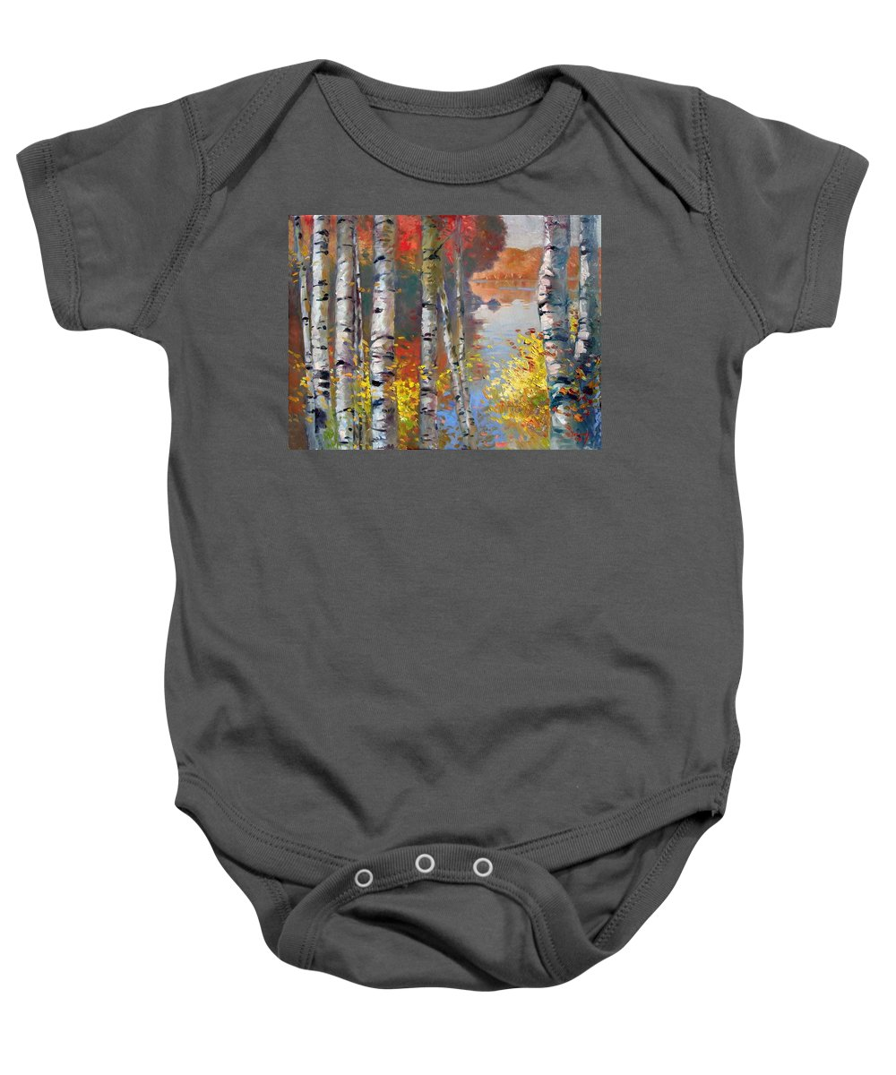 Landscape Baby Onesie featuring the painting Birch Trees By The Lake by Ylli Haruni
