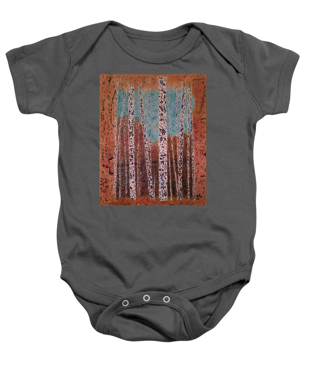 Trees Baby Onesie featuring the painting Birch Trees by John Cunnane