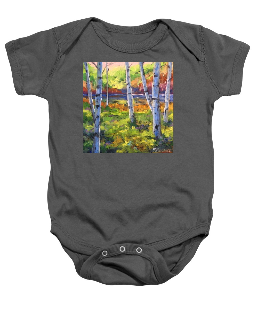 Art Baby Onesie featuring the painting Birches 01 by Richard T Pranke