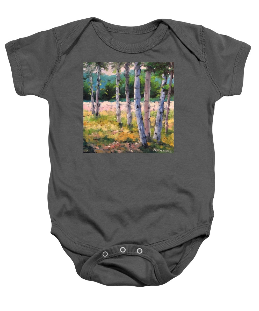 Art Baby Onesie featuring the painting Birches 04 by Richard T Pranke
