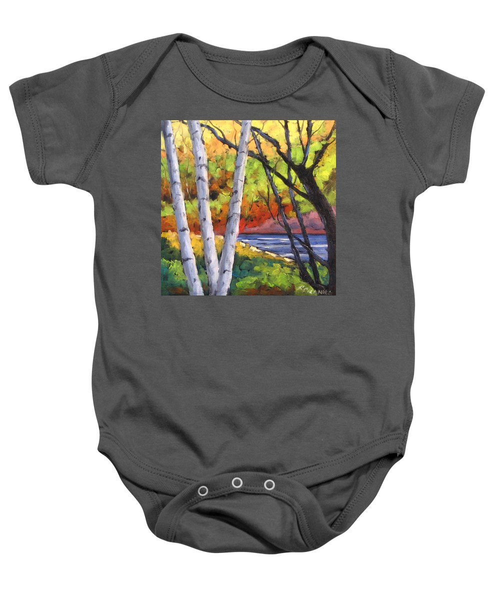 Art Baby Onesie featuring the painting Birches 06 by Richard T Pranke