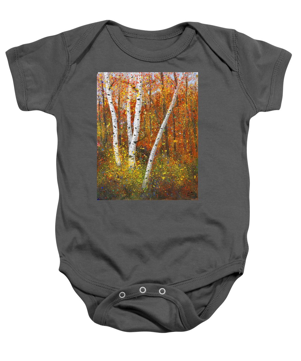 Birches Baby Onesie featuring the painting Birches by Garry McMichael