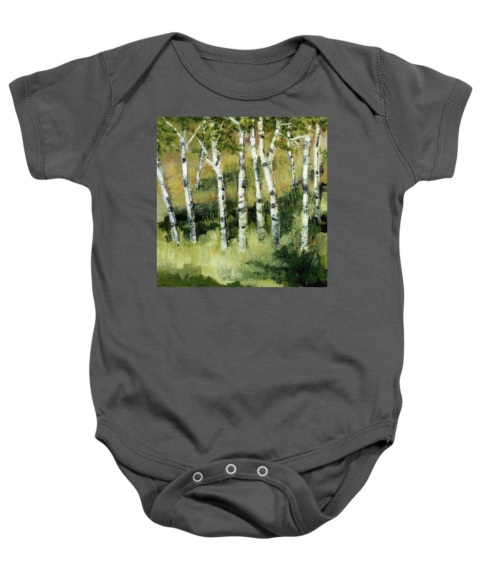 Trees Baby Onesie featuring the painting Birches On A Hill by Michelle Calkins