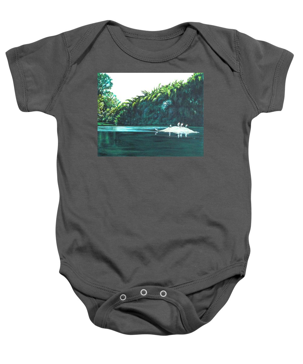 Birds Baby Onesie featuring the painting Bird Haven by Usha Shantharam