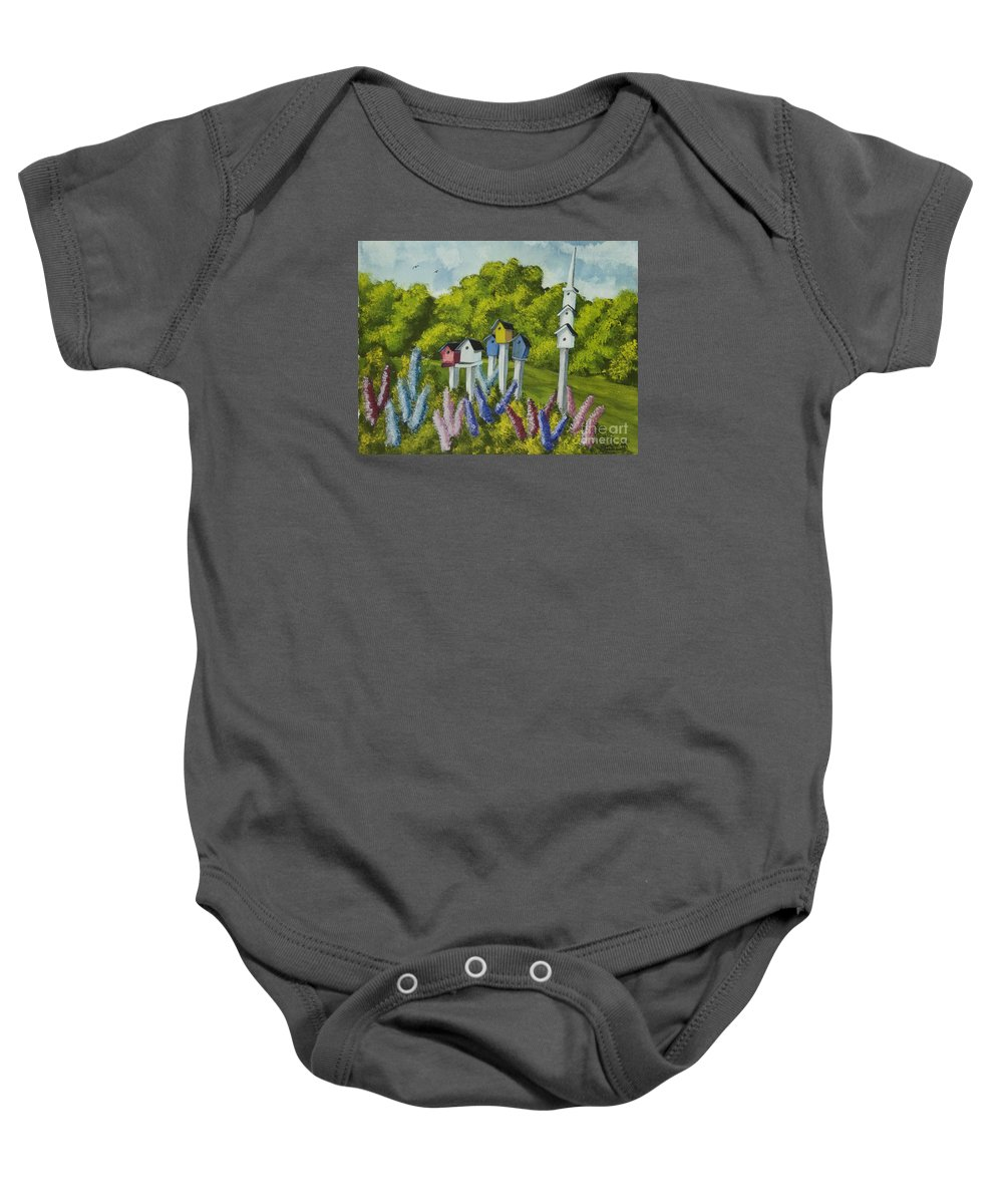 Birdhouses Baby Onesie featuring the painting Bird Metropolis by Charlotte Blanchard