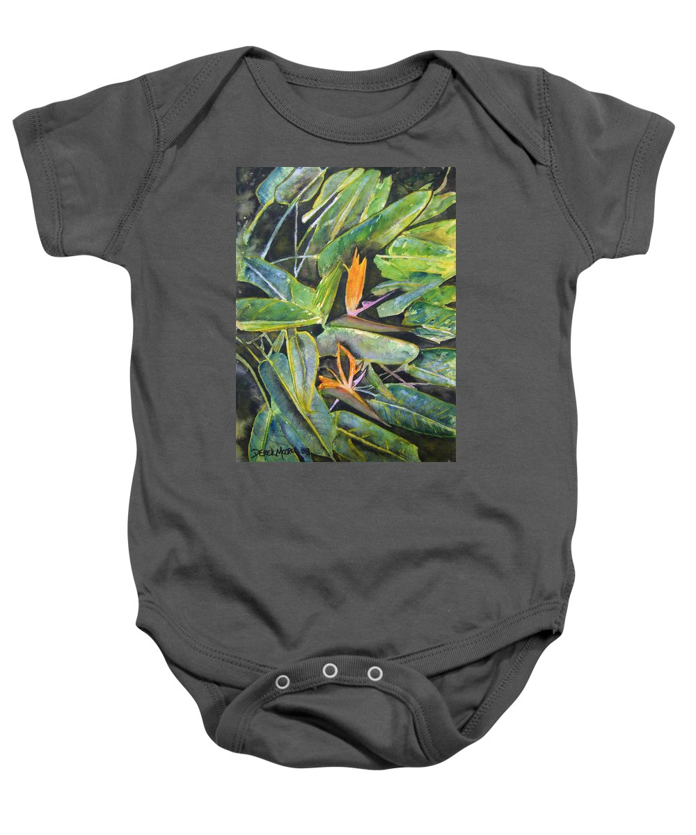 Flower Baby Onesie featuring the painting Bird Of Paradise 2 by Derek Mccrea