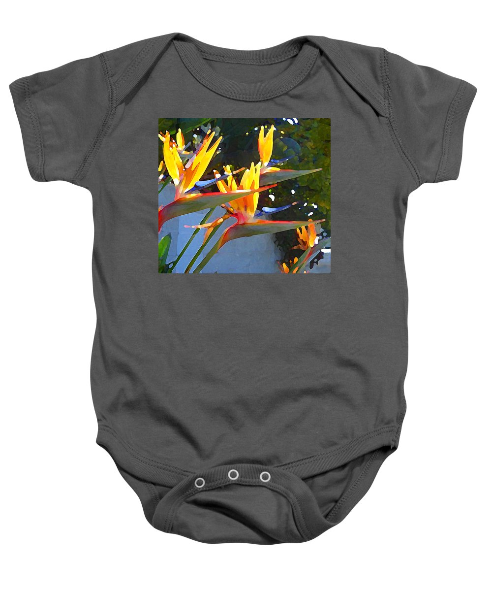 Abstract Baby Onesie featuring the painting Bird Of Paradise Backlit By Sun by Amy Vangsgard