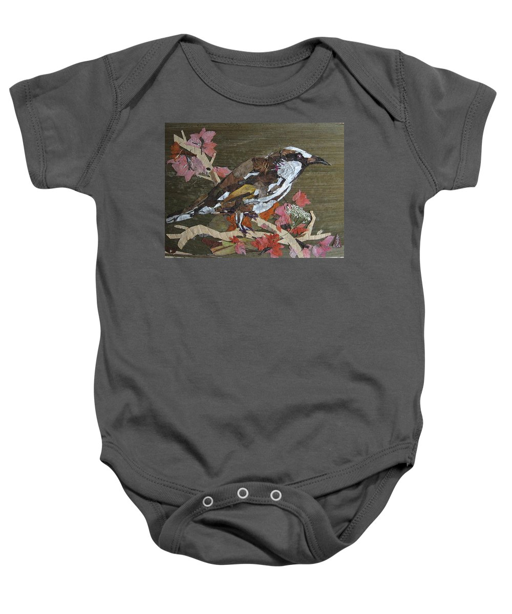 Bird Baby Onesie featuring the mixed media Bird White eye by Basant Soni