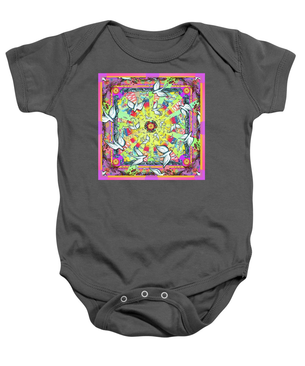 Baby Onesie featuring the mixed media Birds Of A Feather by Wagl Store