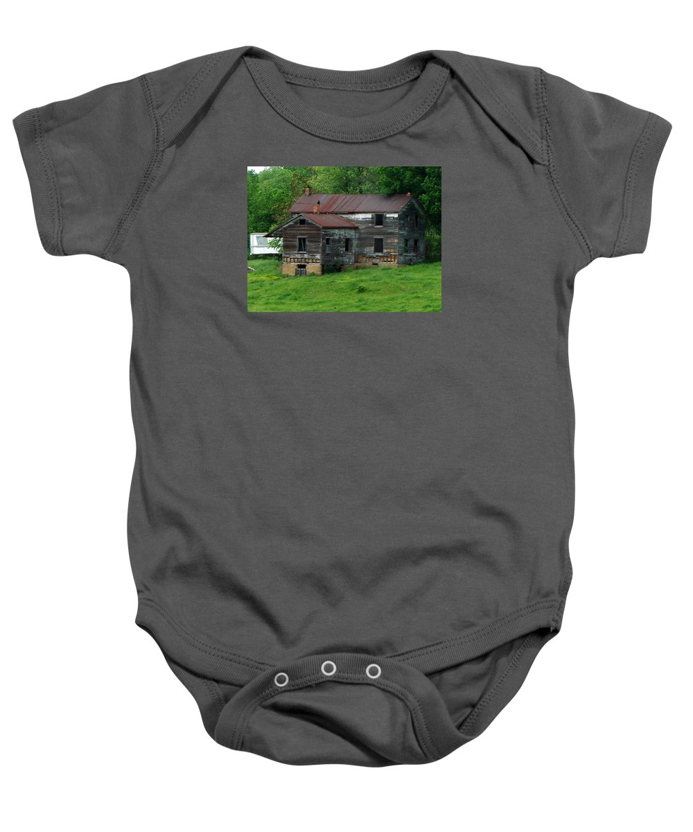 Oldhouse Baby Onesie featuring the photograph Birds On Chimneys by J R  Seymour