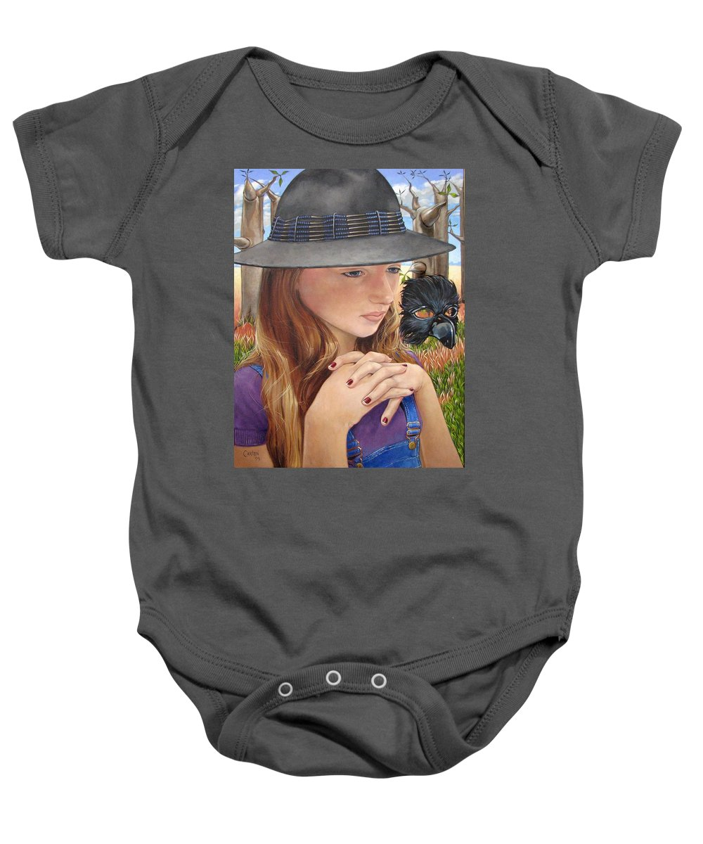 Girl Baby Onesie featuring the painting Birth Of The Scheme by Jerrold Carton