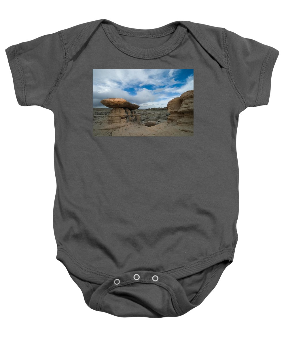 Badland Baby Onesie featuring the photograph Bisti Fissure New Mexico by Steve Gadomski