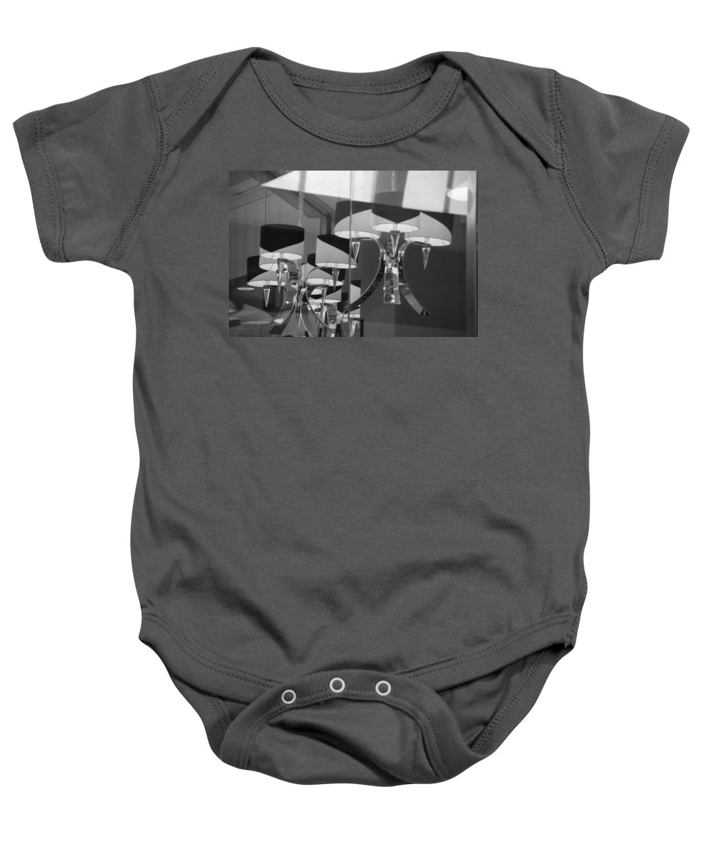 Chandeliers Baby Onesie featuring the photograph Black And White Lights by Rob Hans