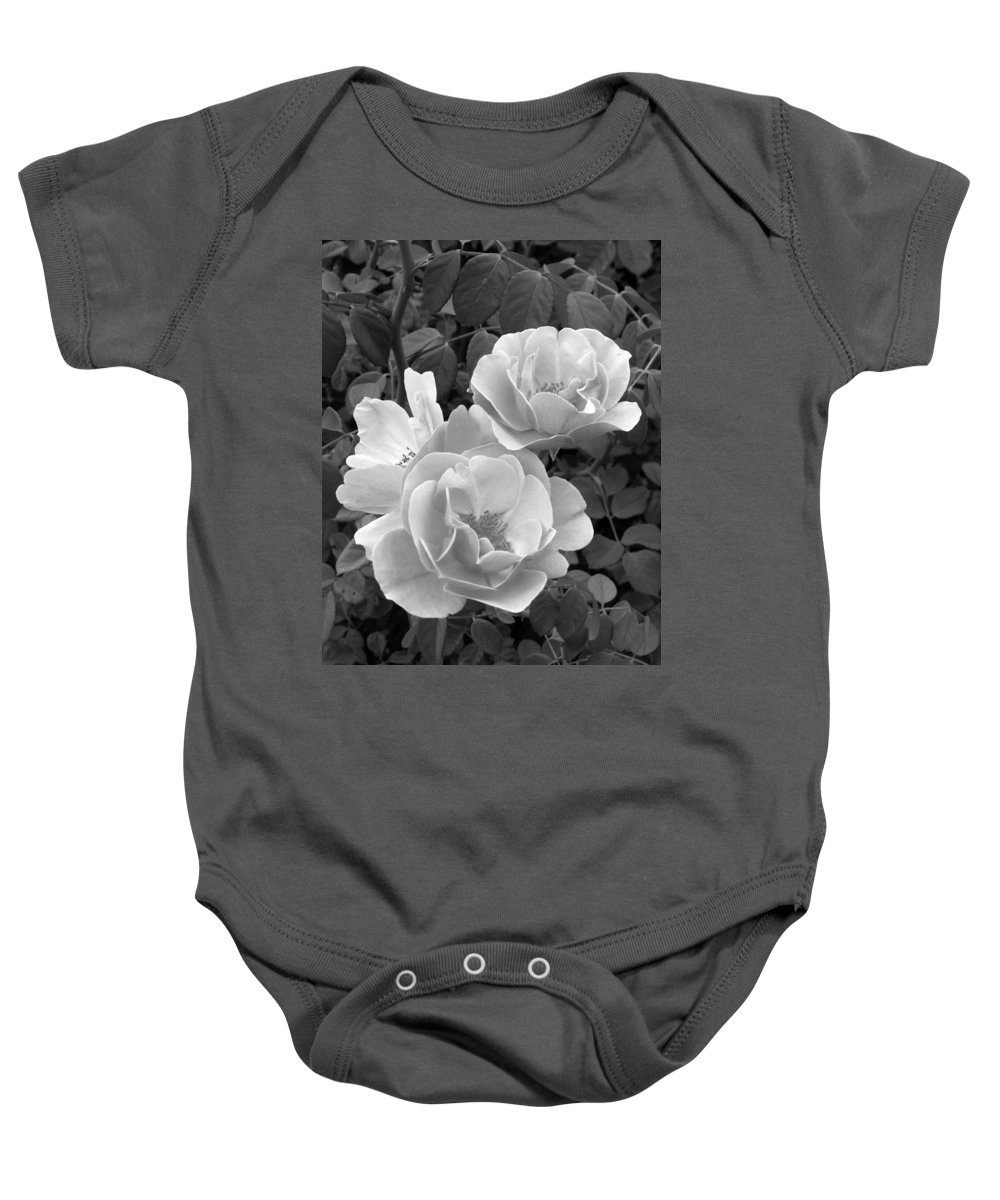 Rose Baby Onesie featuring the photograph Black And White Roses 1 by Amy Fose