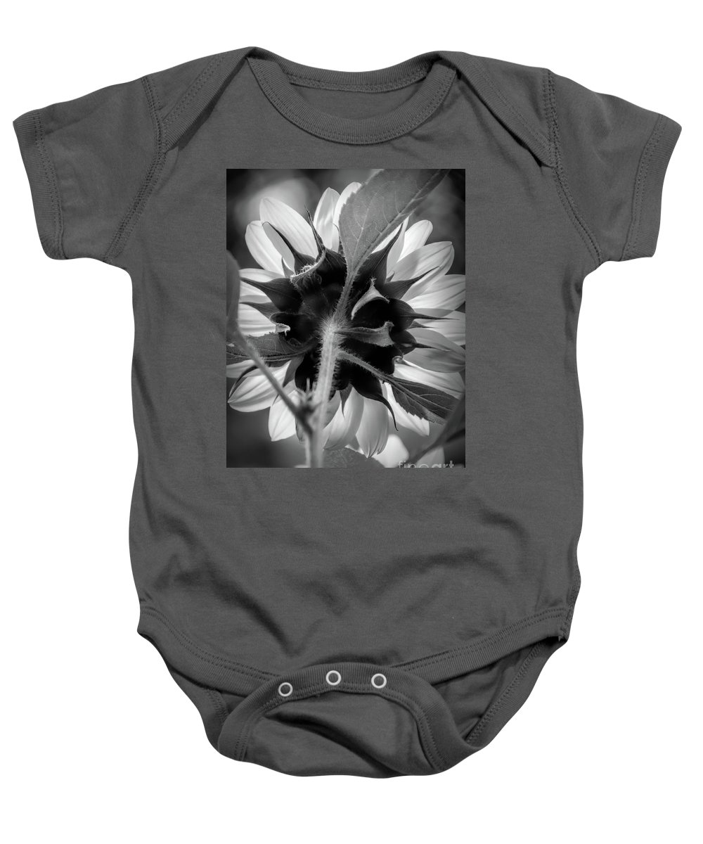 Flower Baby Onesie featuring the photograph Black And White Sunflower 5 by Mellissa Ray