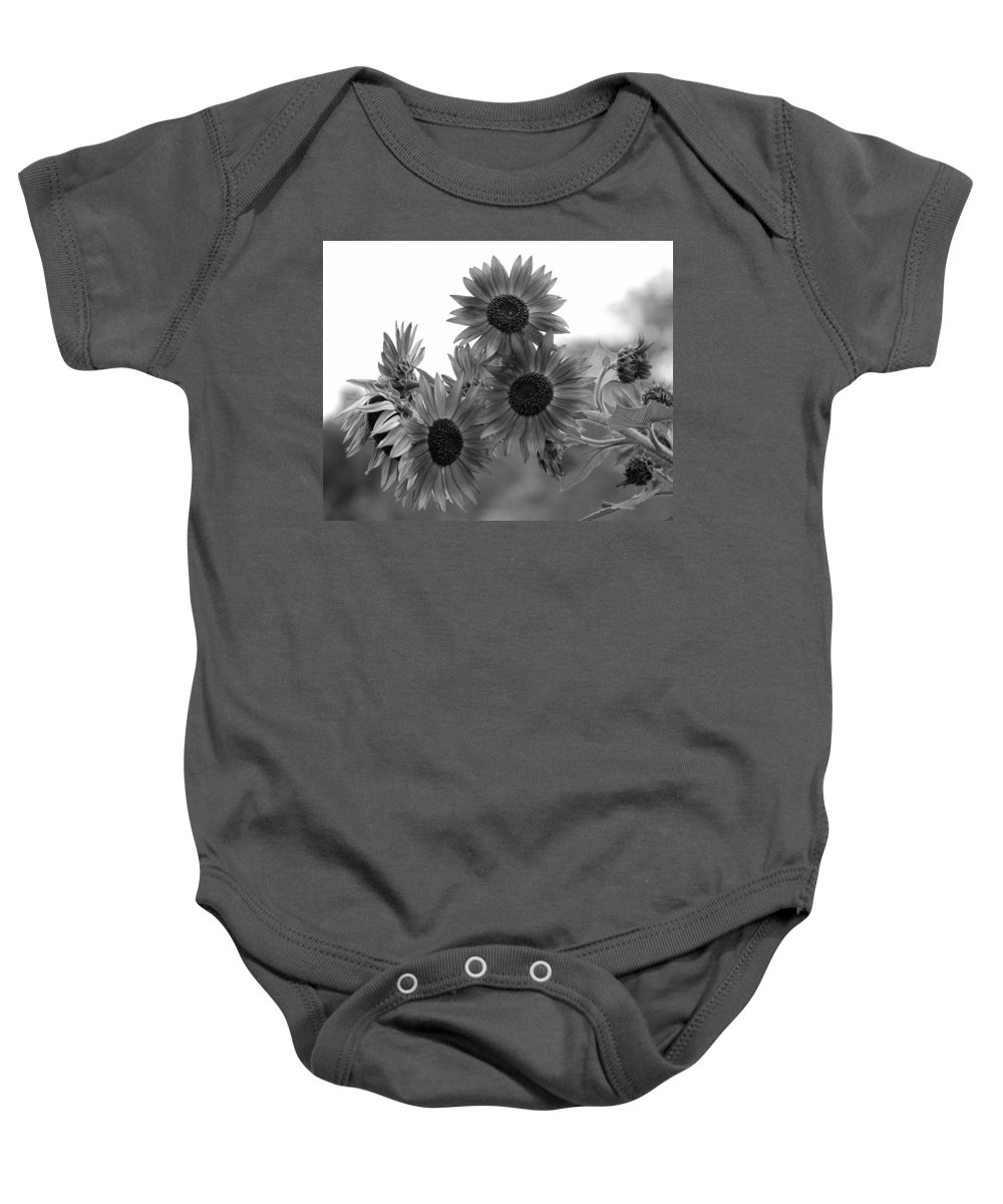 Flower Baby Onesie featuring the photograph Black And White Sunflowers by Amy Fose
