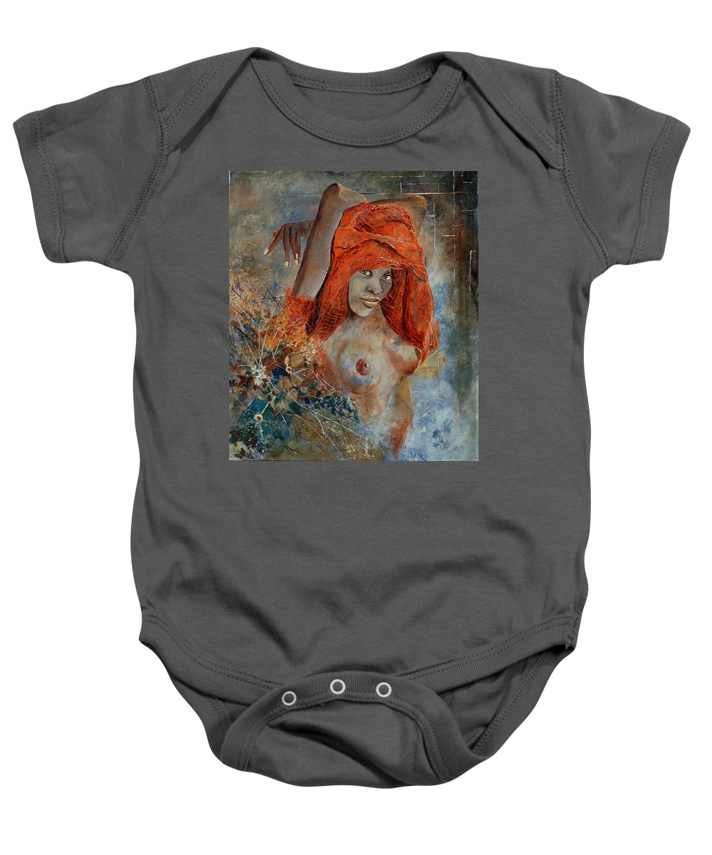 Nude Baby Onesie featuring the painting Black Beauty by Pol Ledent