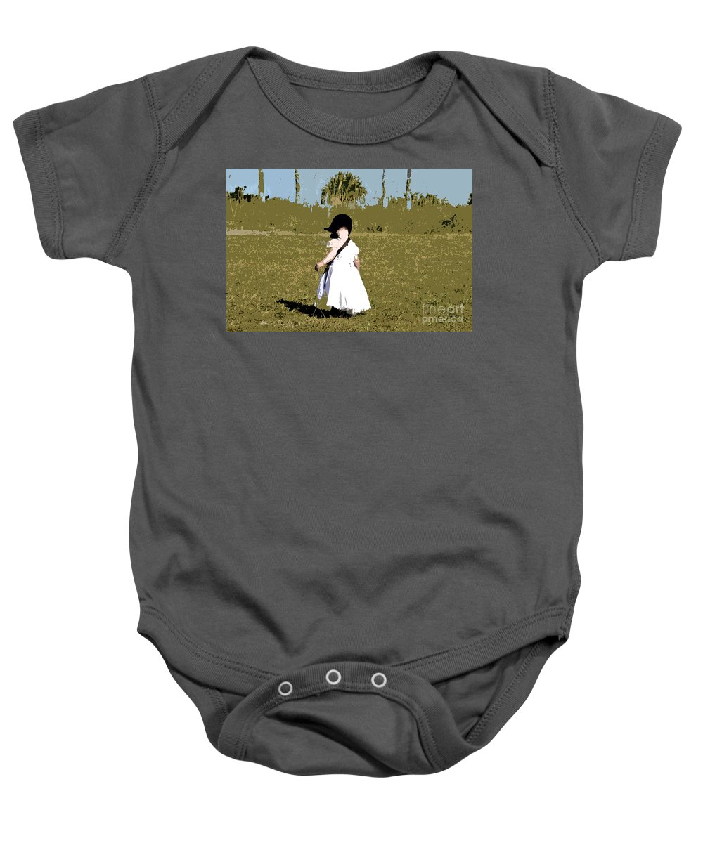Child Baby Onesie featuring the painting Black Bonnet by David Lee Thompson