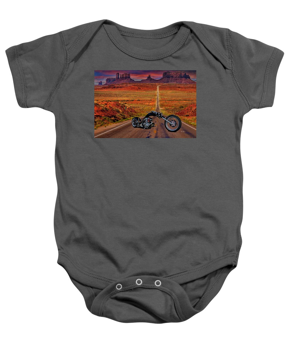 Chopper Baby Onesie featuring the photograph Black Chopper At Monument Valley by Russ Harris