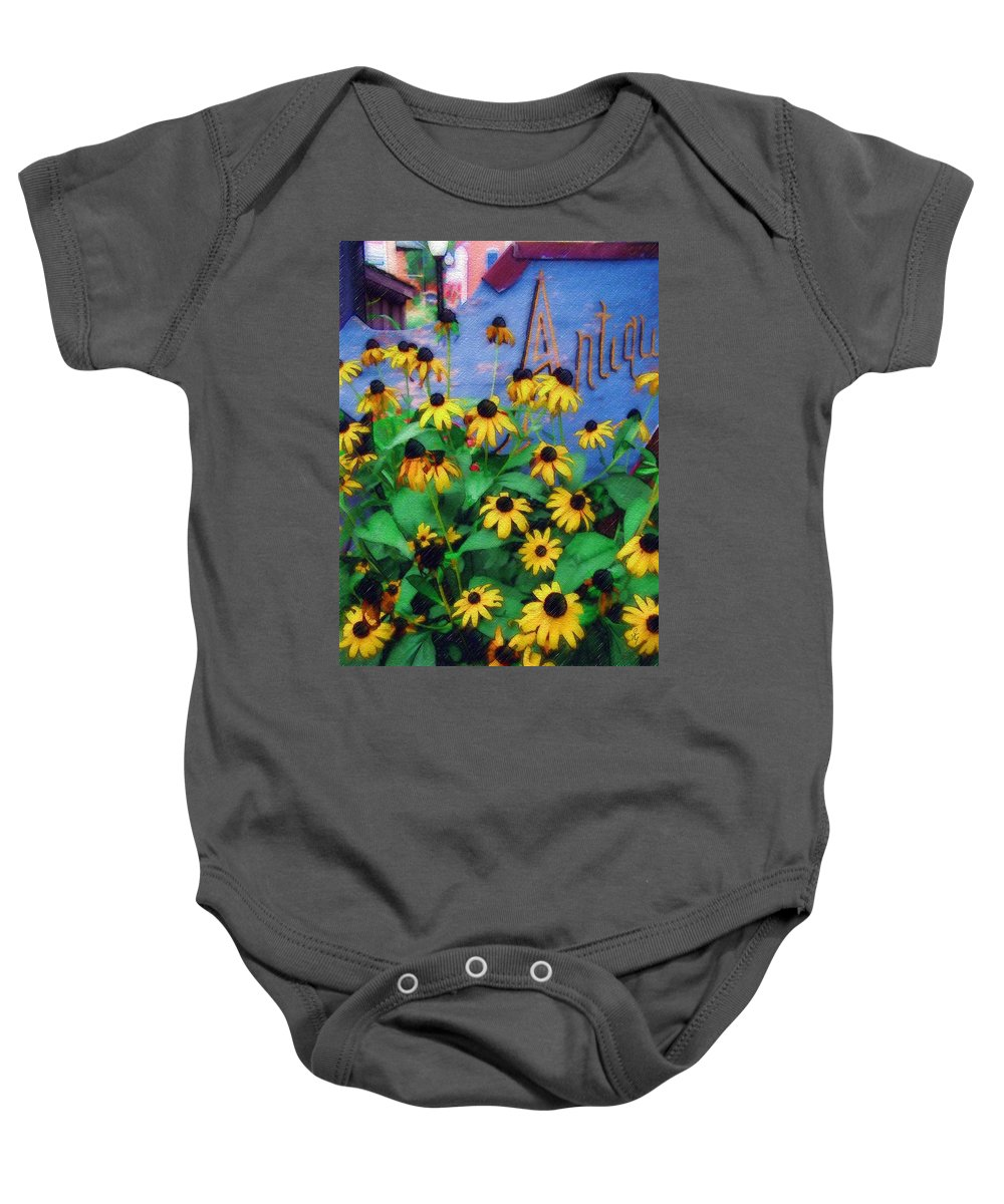 Flowers Baby Onesie featuring the photograph Black-eyed Susans at the Bag Factory by Sandy MacGowan