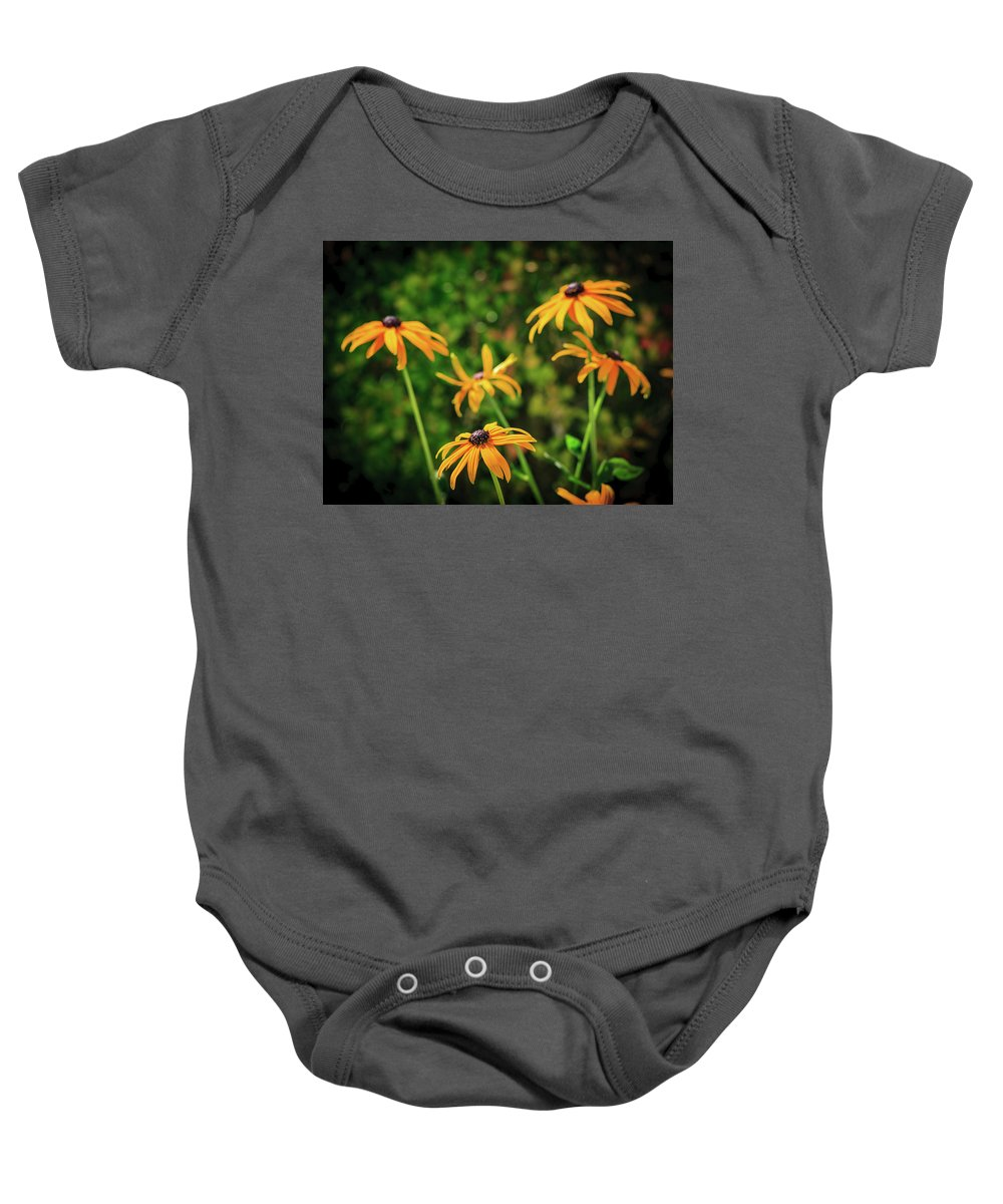 Black Eyed Susans Baby Onesie featuring the photograph Black Eyed Susans by Mike Penney