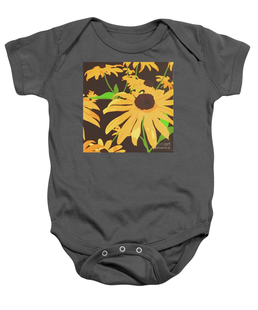 Yellow Baby Onesie featuring the painting Black-eyed Susans by Susan Porter