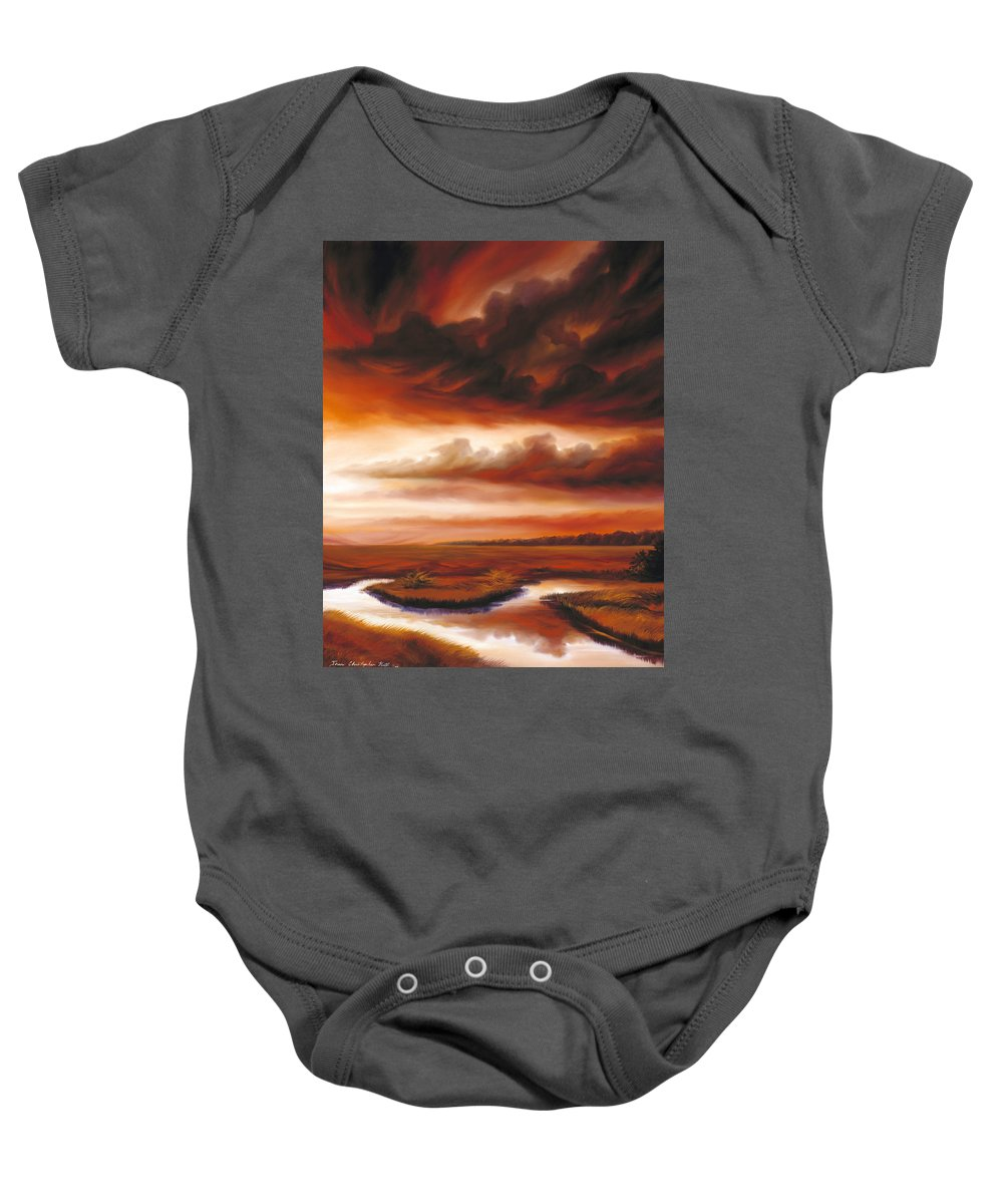 Contemporary Baby Onesie featuring the painting Black Fire by James Christopher Hill