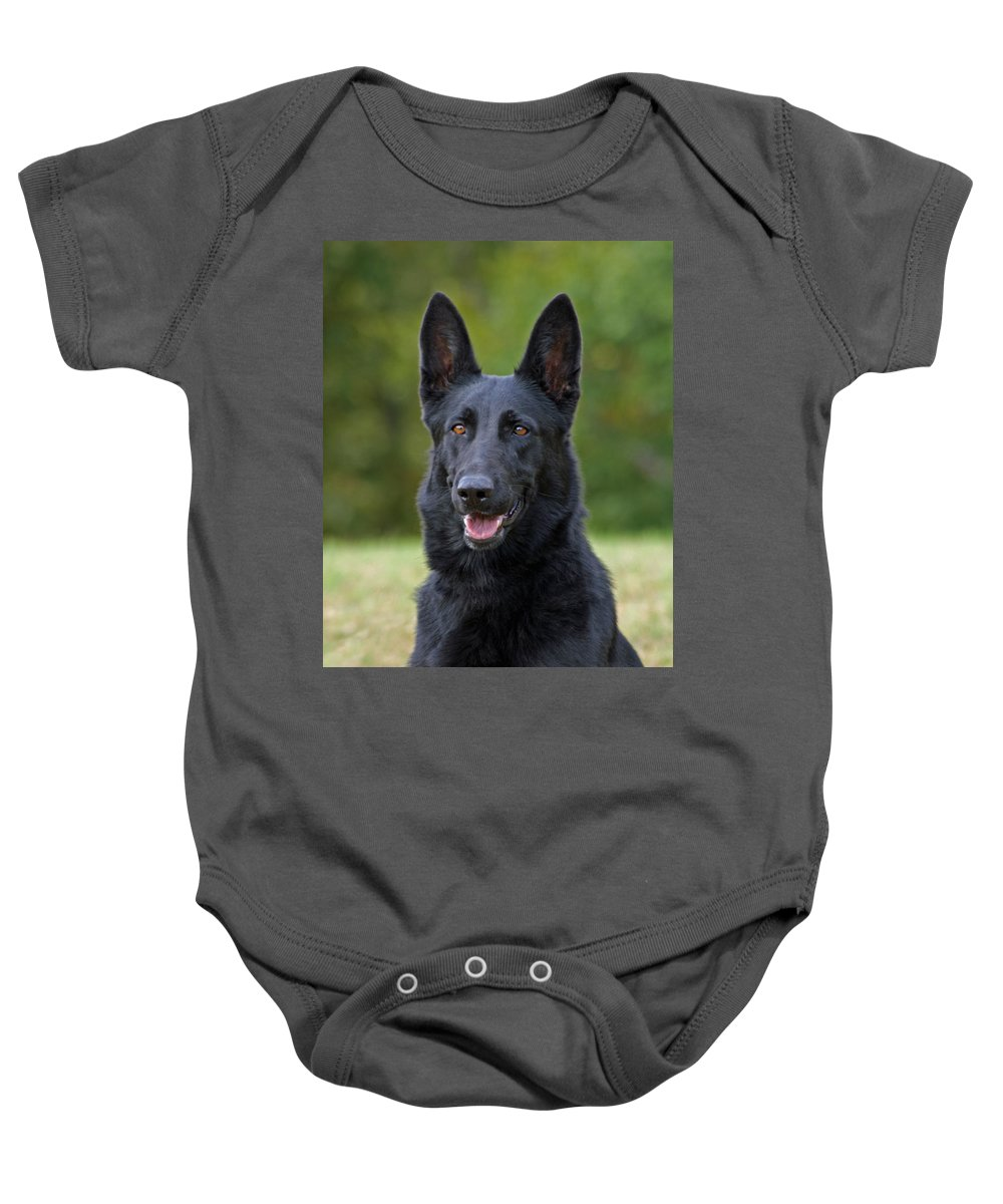 German Shepherd Baby Onesie featuring the photograph Black German Shepherd Dog by Sandy Keeton