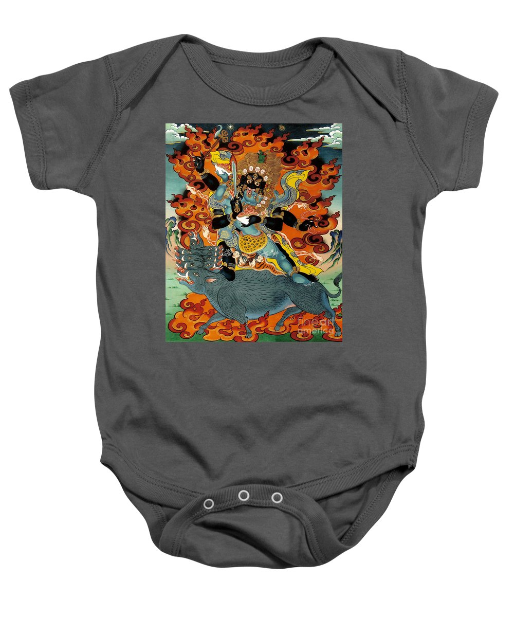 Thangka Baby Onesie featuring the painting Black Hayagriva by Sergey Noskov