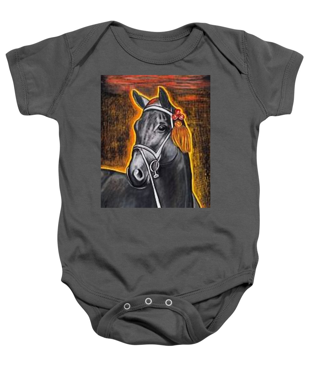 Horse Baby Onesie featuring the painting Black Horse by Isabell Von Piotrowski