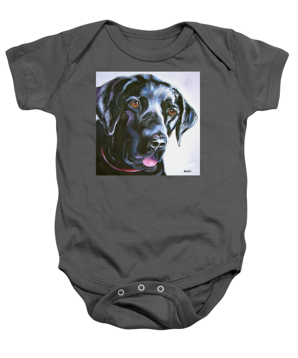 Dogs Baby Onesie featuring the painting Black Lab No Ordinary Love by Susan A Becker