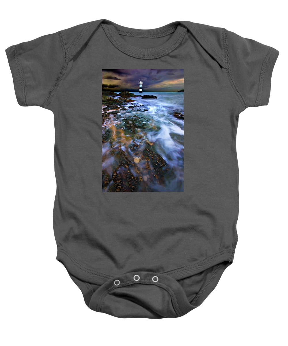 Uk Baby Onesie featuring the photograph Black Point Light by Meirion Matthias