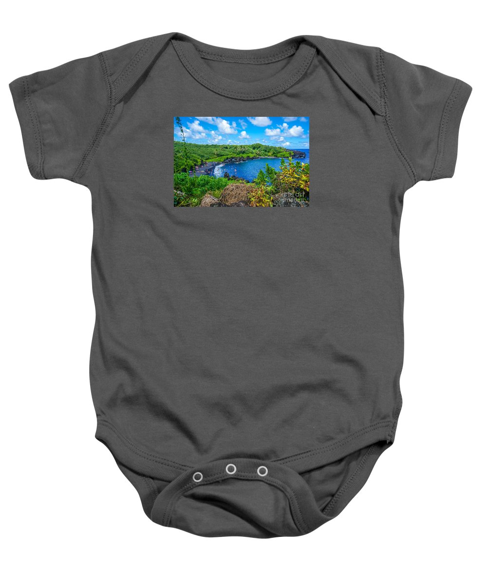 Black Sand Baby Onesie featuring the photograph Black Sand Beach - Maui Hi by New Heights Aerial Photography