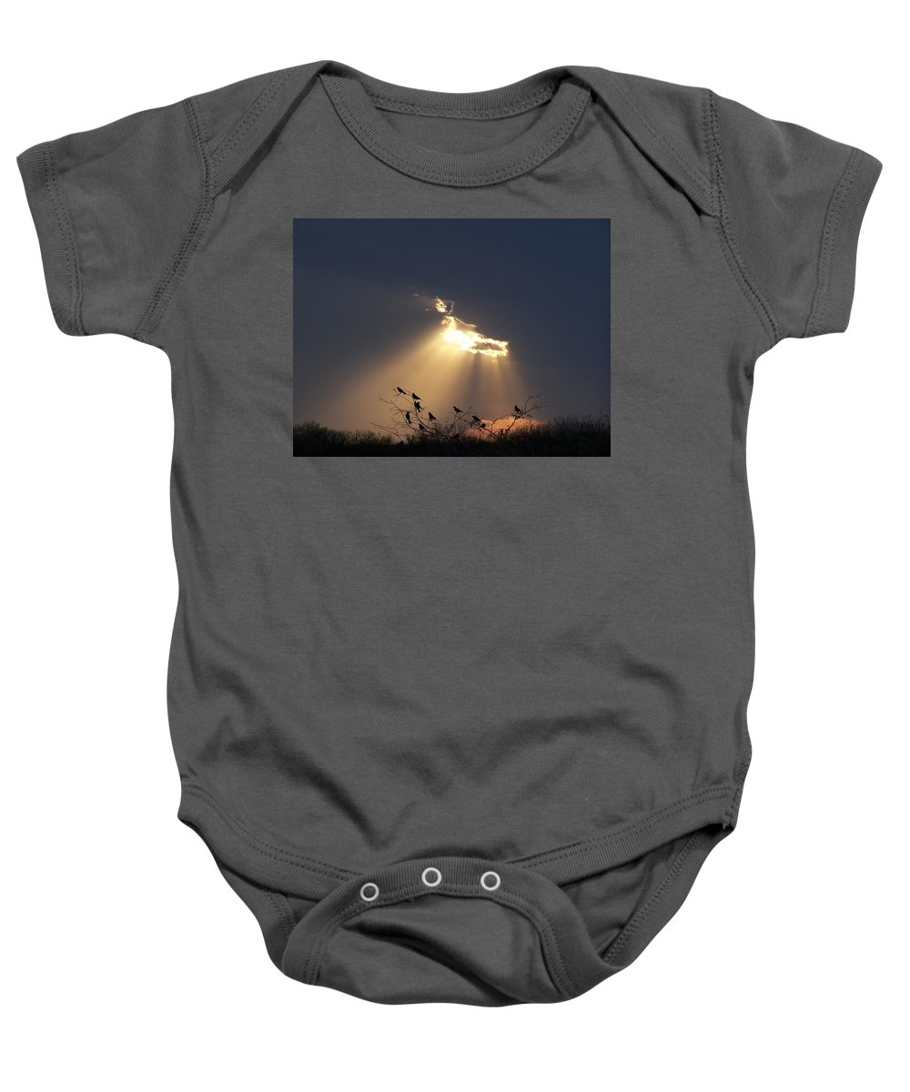Storm Baby Onesie featuring the photograph Blackbird Sky by Gale Cochran-Smith
