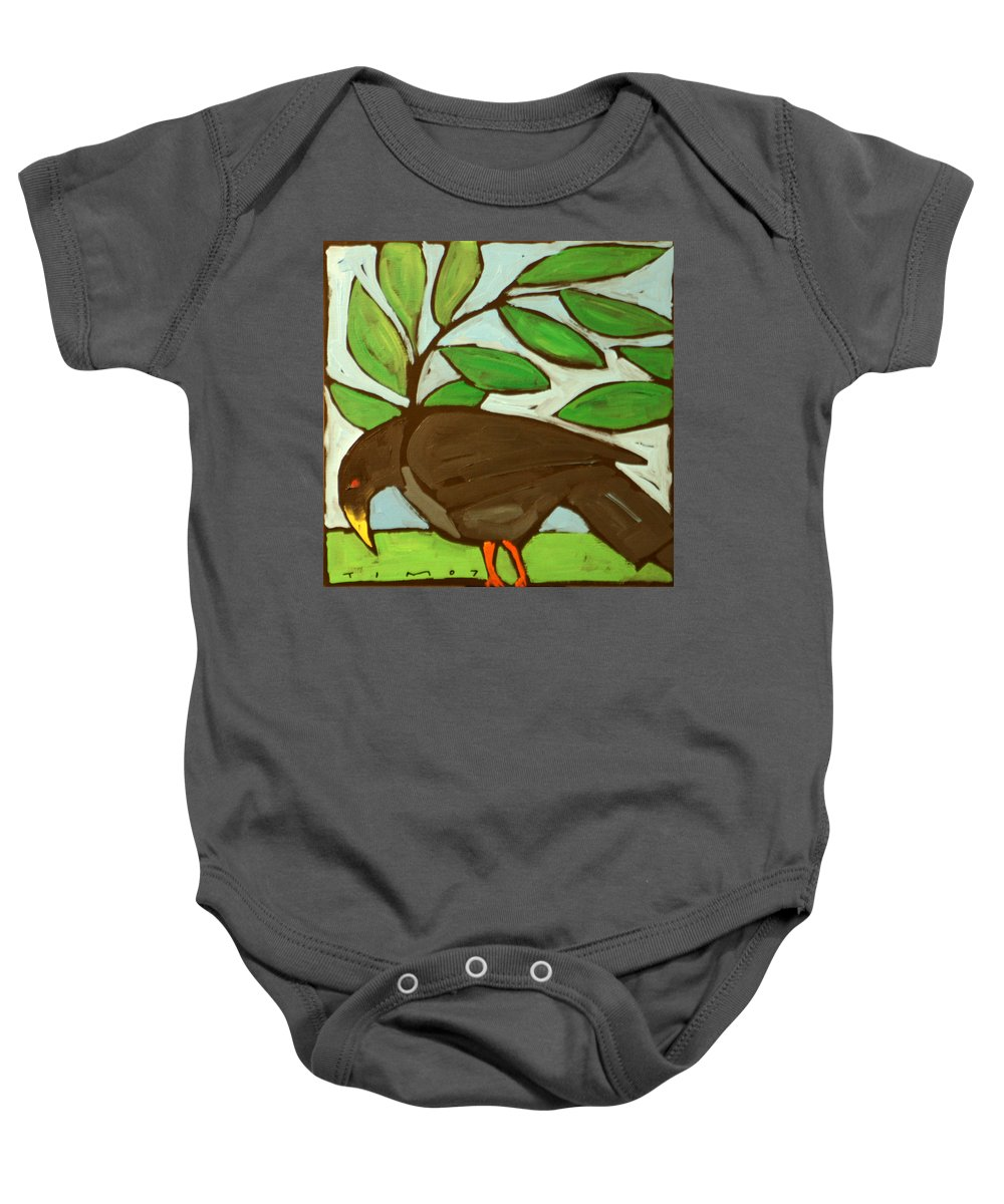 Bird Baby Onesie featuring the painting Blackbird by Tim Nyberg