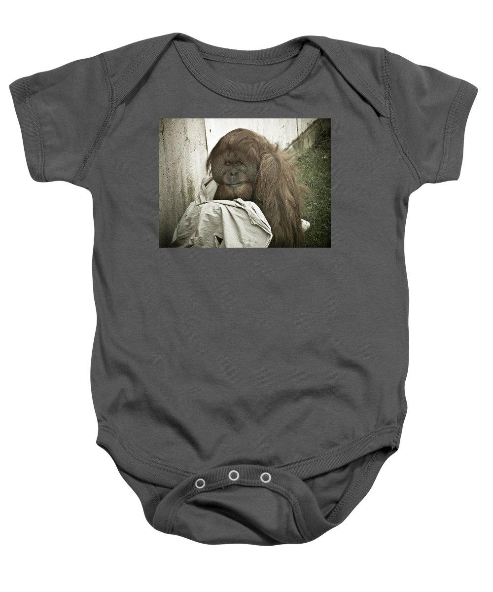 Orangutang Baby Onesie featuring the photograph Blankie by Trish Tritz