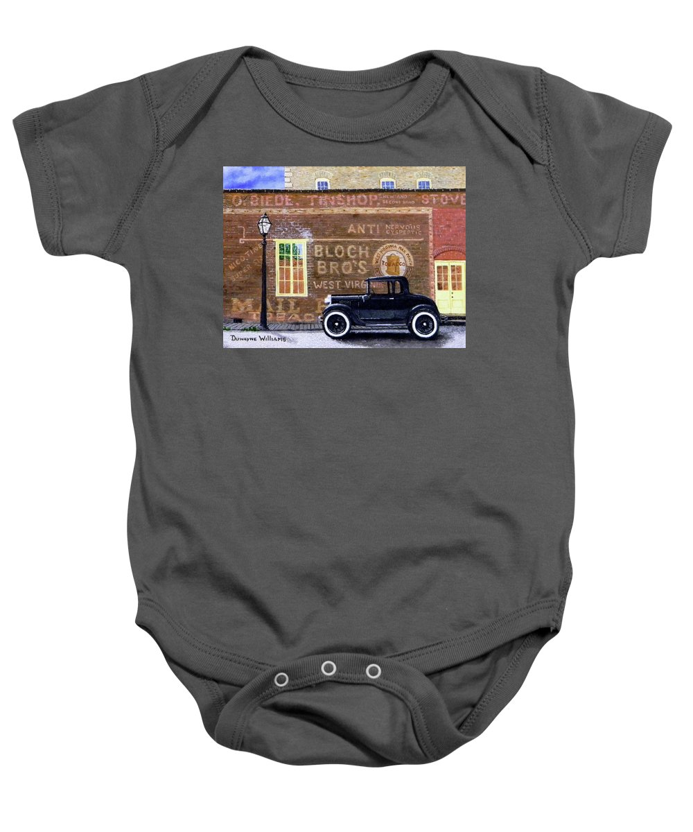Model A Baby Onesie featuring the painting Bloch's Wall by Duwayne Williams