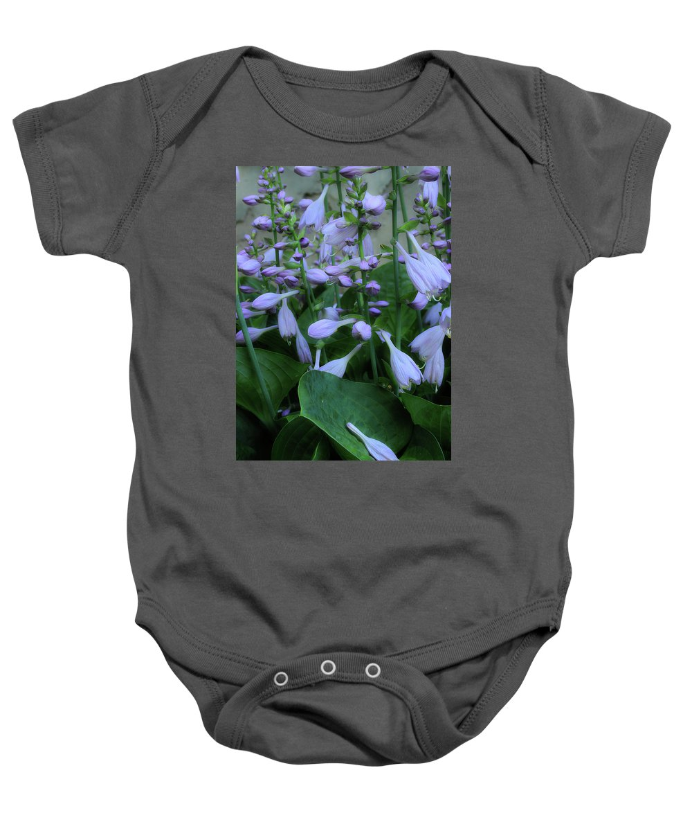 Hosta Baby Onesie featuring the photograph Blooming Hosta by Mike Eingle