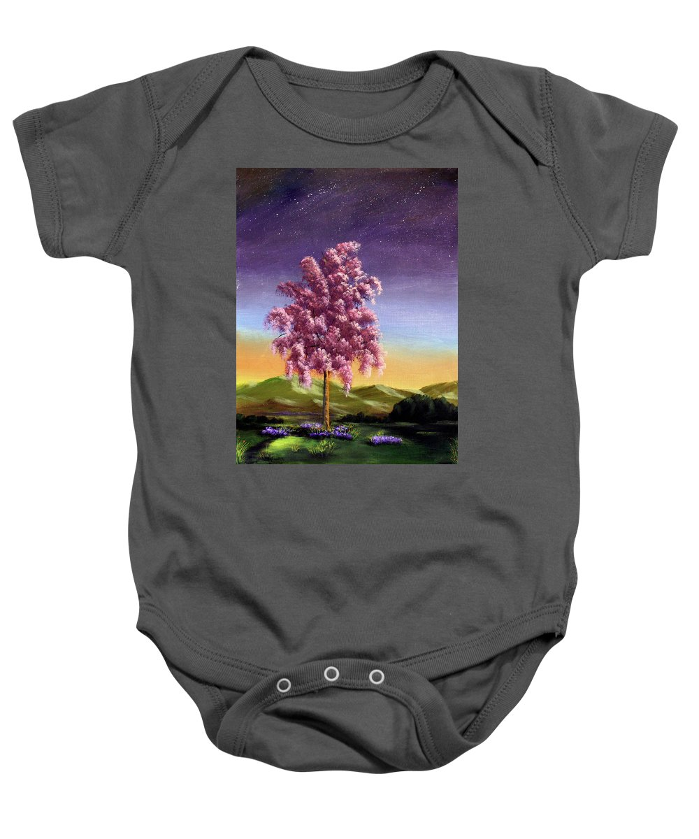 Dawn Blair Baby Onesie featuring the painting Blossoming by Dawn Blair