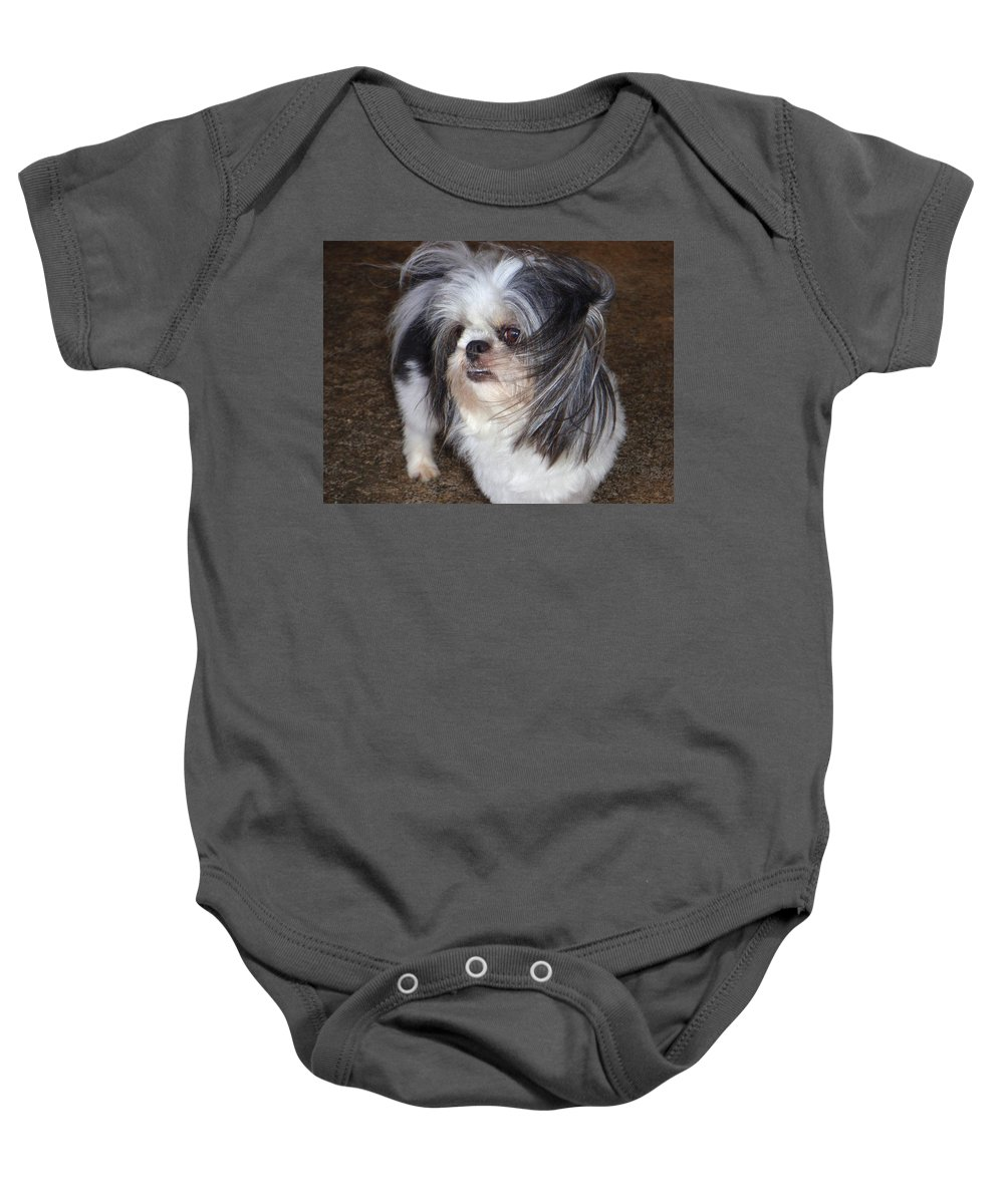 Mary Deal Baby Onesie featuring the photograph Blowing In The Wind by Mary Deal