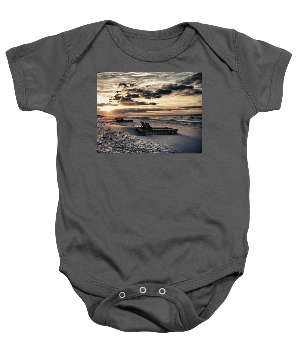 Alabama Photographer Baby Onesie featuring the painting Blue And Orange Sunrise On The Beach by Michael Thomas