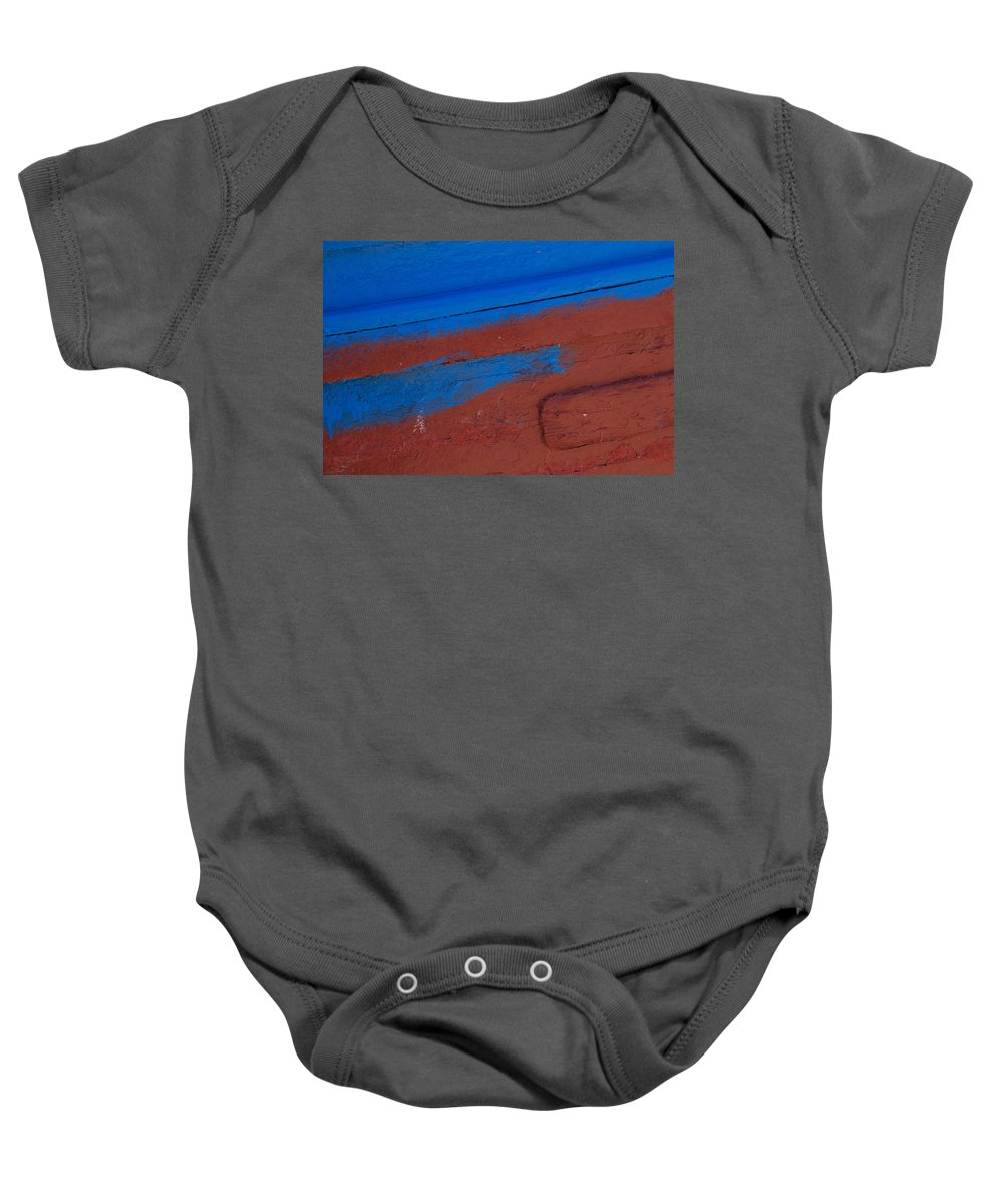 Boat Baby Onesie featuring the photograph Blue And Red Abstract by Lindley Johnson