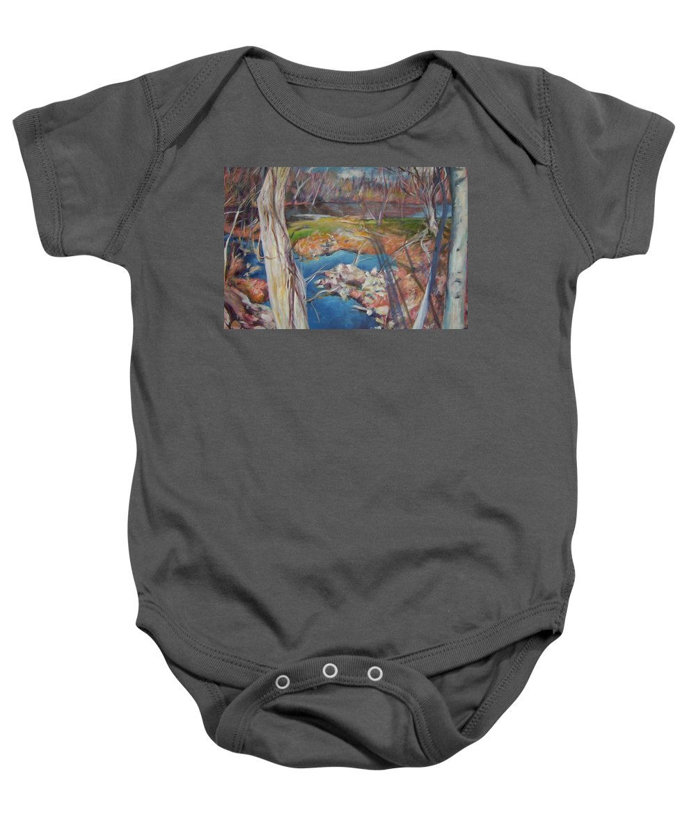 Landscape Baby Onesie featuring the painting Blue Between by Sheila Holland