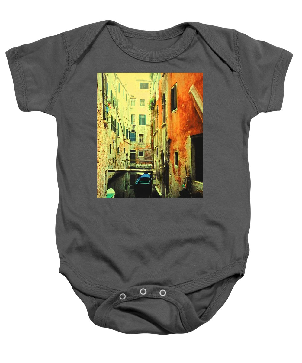 Venice Baby Onesie featuring the photograph Blue Boat In Venice by Ian MacDonald