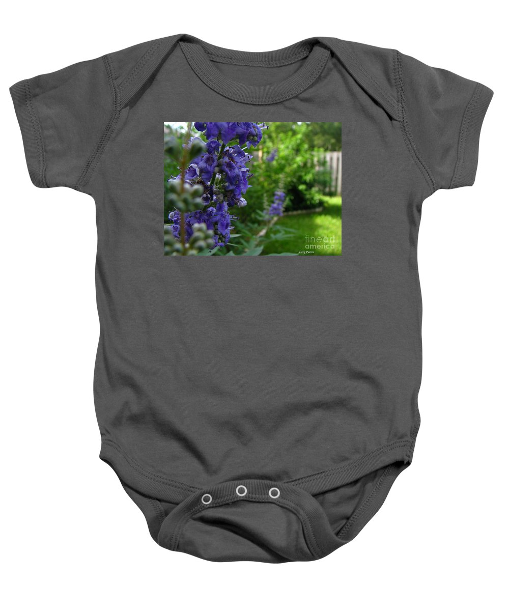 Art For The Wall...patzer Photography Baby Onesie featuring the photograph Blue Butterfly by Greg Patzer