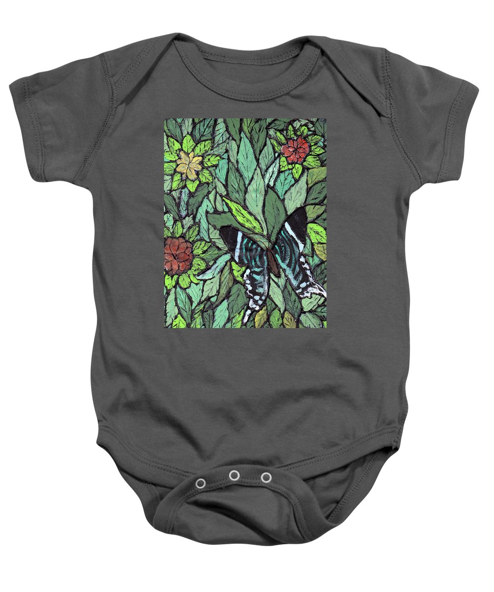 Butterfly Baby Onesie featuring the painting Blue Butterfly by Wayne Potrafka