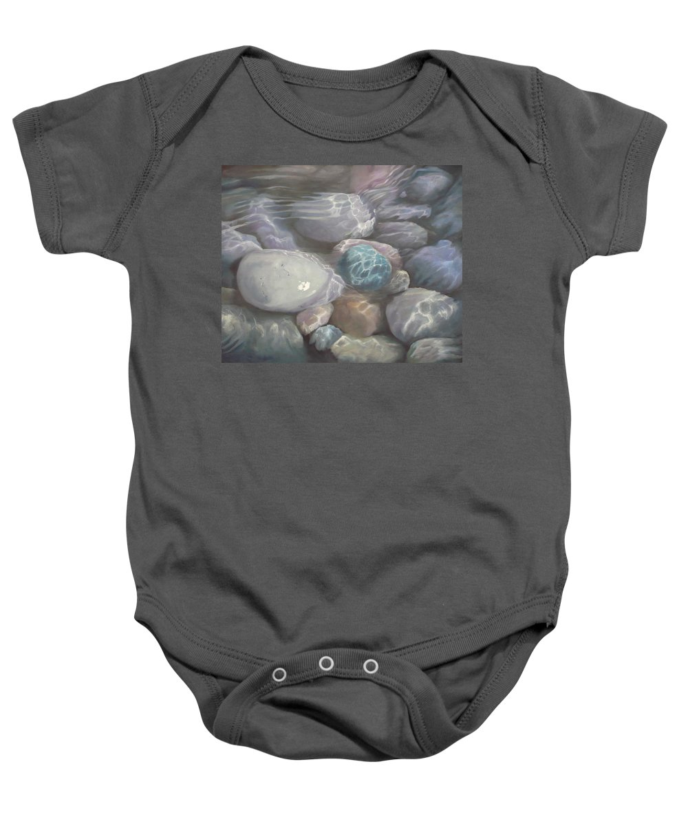 Pebbles Water Oil Blue Sea Underwater Baby Onesie featuring the painting Blue Calm by Caroline Philp