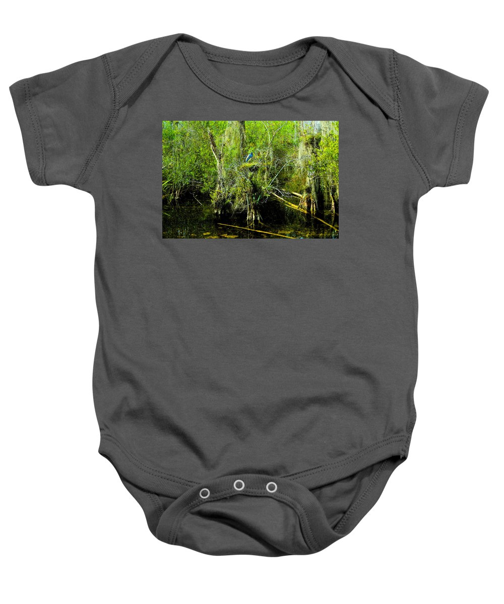 Art Baby Onesie featuring the painting Blue Heron by David Lee Thompson