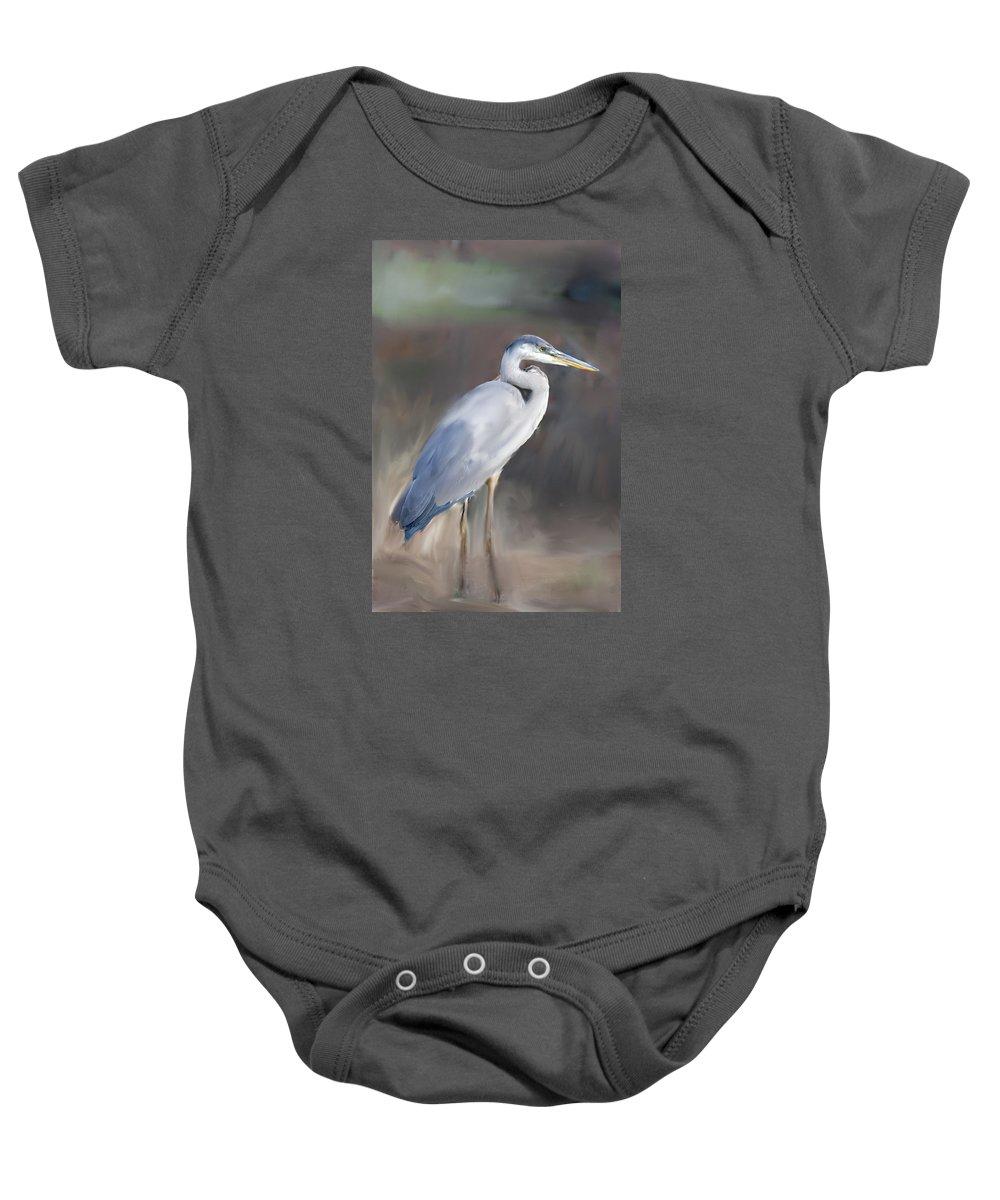 Painting Blue Heron Iii Baby Onesie featuring the painting Blue Heron Painting by Don Wright